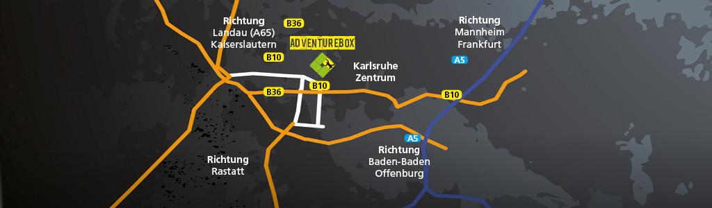 Anfahrt Adventurebox Karlsruhe